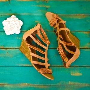 ALDO Brown Gladiator Wedge Sandals